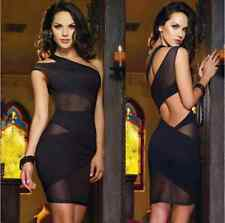 Womens One Shoulder Cut Out Mesh Backless Mini Dress Cocktail Evening Clubwear