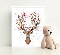 DEER TREE OF LIFE Print Poster Watercolor Framed Canvas Wall Art Nursery Gift