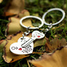 1 Pair Couple I LOVE YOU Key chain Heart Key Ring Silvery Lovers Key chains