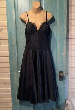 BCBG Paris Sz 8 Black Lace Fit Flare Spaghetti Strap Sweetheart Corset Dress
