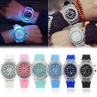 Women Watch Waterproof Sport Analog LED Backlight Ladies Wrist Watch Bracelet CZ