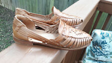 WOMENS FRYE HUARACHE HEATHER BROWN LEATHER WOVEN SLIP ON  SANDALS - SHOES SZ 9.5