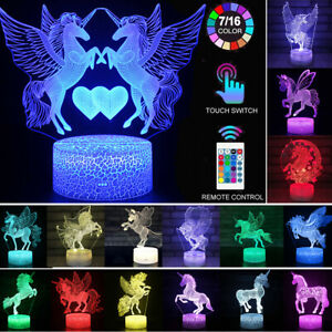 LED Night Light 3D Unicorn Table Lamp Touch Remote Lights Kids Xmas Gifts Decor