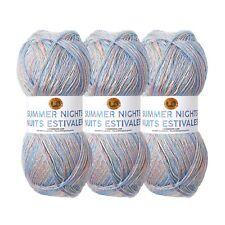Lion Brand Yarn 512-307 Summer Nights Bonus Bundle, Blue Lagoon (Pack of 3)