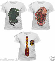 Official Harry Potter T Shirt Slytherin Gryffindor Hogwarts Uniform New White