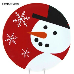 """Crate & Barrel SNOWMAN 12"""" Platter Red Black Hat White Snowflakes Christmas"""