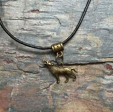 Vintage Bronce PLT Aullidos Wolf Colgante Collar Regalo Unisex Animal vikind pagan