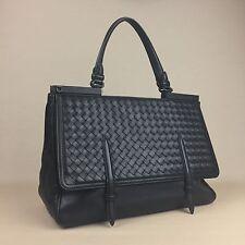New BOTTEGA VENETA Black Intrecciato Wooven Monaco Flap Bag Handbag Purse Tote
