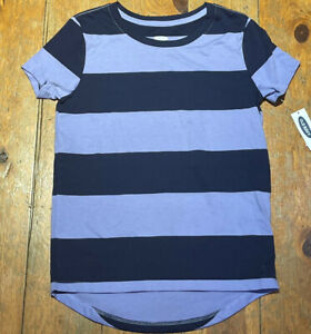 NWT OLD NAVY GIRLS SHIRT TOP tee purple navy blue stripe  you pick size