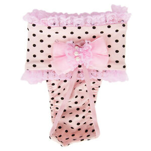 Pink Polka Female Pet Dog Puppy Physiological Sanitary Pants Underwear Diaper