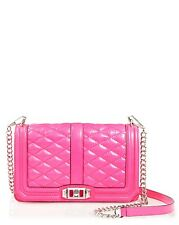 NWT Rebecca Minkoff LOVE Crossbody Electric PINK Quilted Leather Silver HW $295