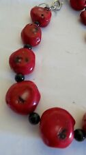 RED CORAL NATURAL VINTAGE AND BLACK STONES BEADS   NECKLACE