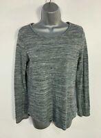WOMENS MARKS&SPENCER SIZE UK 8 GREY MARL LONG SLEEVE CREW NECK CASUAL T SHIRT