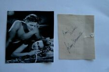 JOHNNY WEISSMULER SIGNED SCRAPBOOK PAGE CUT AUTOGRAPH WITH BOOK PHOTO - TARZAN