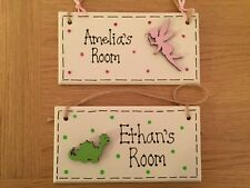 Personalised Children's Bedroom Door Wooden Sign/Plaque Boy Girl Fairy Dinosaur