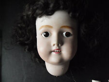 "Vintage 1920s Germany S&H Cm Bergmann 3 Bisque Girl Doll Head 6"" Tall"