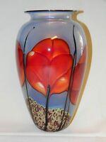 Estate Find Goreous R. Satava Tall Red Poppy Art Glass Vase Vintage Signed