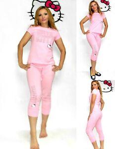 NWT Hello Kitty T-shirt and Jogger Pants lounge Set Pajamas M,L,XL, Pink