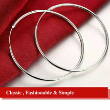 925 Sterling Silver Plated Plain Smooth Thin Long Round Hoop Earrings