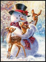 Snowman and Fawns - DIY Chart Counted Cross Stitch Patterns Needlework 14 ct