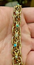 ANTIQUE VICTORIAN 9CT GOLD EXPANDABLE / STRETCH BRACELET WITH TURQUOISE & PEARLS