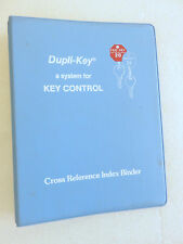 Dupli-Key Key Control Cross Reference Index Binder Manual