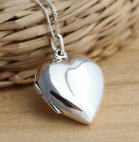 925 Sterling Silver Heart Photo Locket Pendant Necklace Gift Box