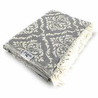 Plaid Tagesdecke BAROCK grau Couchdecke Sofa Decke 150 x 200 cm 100% Cotton