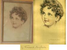 Dessin De VINCENT  ANGLADE  (1876-1956)  ( portrait d'enfant )