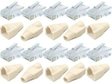 Job Lot of 20 10x RJ45 Cat5e Crimp Plug Cable Ends + 10x White Boots Network LAN