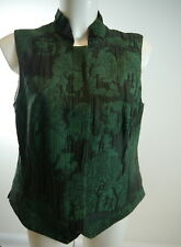 #GÖSSL Gilet Trachtengilet Jacke grün-schwa Handarbeit 100%Wolle-Seide Gr.40-42