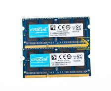 Crucial 8gb 2x 4gb ddr3 pc3-8500s 1066mhz SODIMM Notebook Speicher RAM 204pin pc8500