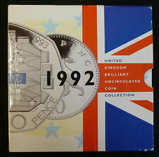 1992 Uncirculated UK Year set BU 9-coin Royal Mint Pack with RARE EC 50p