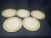 "Sango ""Brandywine"" Stoneware 8820 Set/5 Dinner Plates Green Rim Topiary"