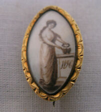 ANTIQUE AMERICAN GOLD MOURNING BROOCH by A.DUBOIS, c.1800