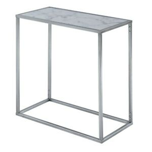 Convenience Concepts Gold Coast Marble Chairside Table, Marble/Silver - 413425S
