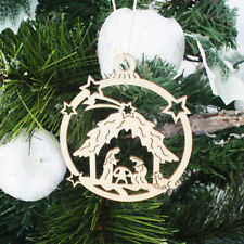 10pcs Wooden Embellishments Christmas Tree Jesus Pattern Pendant TO~T