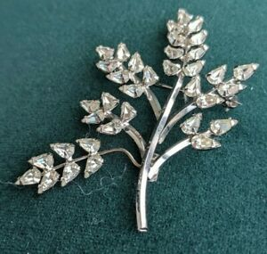 D'Or Signed Sterling Silver Crystal Rhinestones Branch Pin Brooch 2.5""