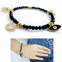 Evil Eye Bracelet Stretch Beaded Black Crystal Hamsa Fatima Lucky Charm Kabbalah