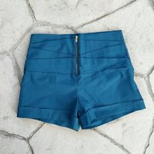 Charlotte Russe Teal Zip High Waist Shorts Medium