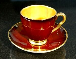 Beautiful Carlton Ware Rouge Royal Coffee Cup And Saucer