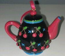 Mary Engelbreit Teapot Christmas Ornament Black Cherries Cherry