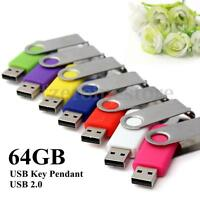64GB 64G USB 2.0 Foldable Flash Memory Stick Drive Data Storage Thumb Pen Disk