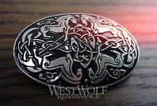 "Large Oval Celtic Horses ""Epona"" Brooch -- Medieval/Viking/Silver/Coat/Cloak Pin"