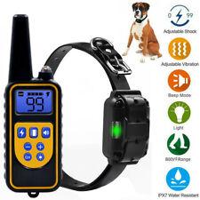 IP67 Pet Dog Training Collar Rechargeable Electric Shock LCD Anti-bark R 800M UK