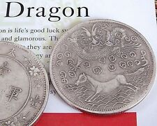 2 CHINESE L DRAGON HORSE QING EMPEROR SILVER PLATED COIN BIRTHDAY PARTY PO Z6