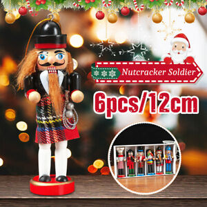 6X Wooden Nutcracker Puppet Soldier Ornaments Christmas Tree Hanging Deco