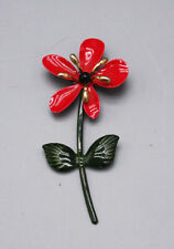 Vintage Red Enamel Flower Brooch/Pin with gold accents