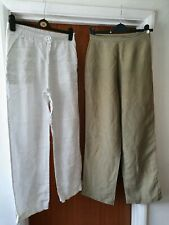 Womens size 10 trouser bundle - M&S linen white, selective silk khaki - wide leg