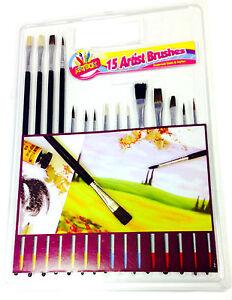 15PCS ASSROTED SIZE ARTIST BRUSHES SET KIDS ART CRAFT ARTIST PAINTING BRUSH SET